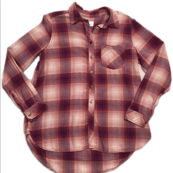 71eb513c Sonoma Tops | Pinkred Patterned Flannel Button Down Top | Poshmark